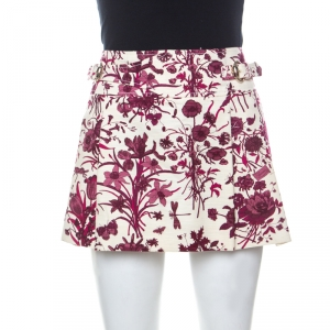 Gucci Beige and Purple Floral Print Cotton Pleated Mini Skirt M