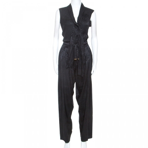 Gucci Black Embossed Silk Top and Trouser Set S
