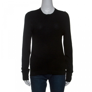 Gucci Black Diamond Knit Wool Web Stripe Detail Sweater XS - used