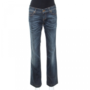 Gucci Blue Embellished Denim Straight Fit Jeans M