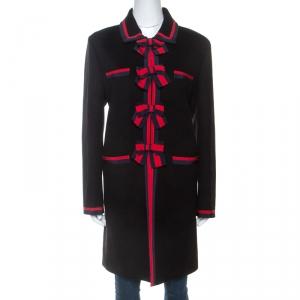 Gucci Black Wool Bow Detail Coat L