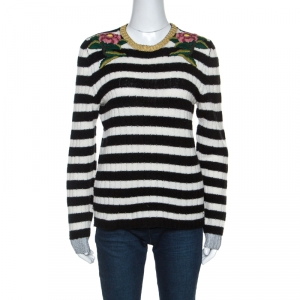 Gucci Monochrome Striped Knit Floral Embroidered Applique Sweater M