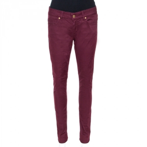 Gucci Burgundy Stretch Denim New Leggings S