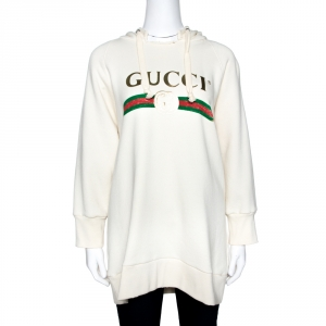 Gucci Cream Appliqued Cotton Blind For Love Oversized Hoodie M
