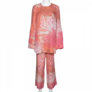 Gucci Peach Floral Print Silk Top and Pant Set L