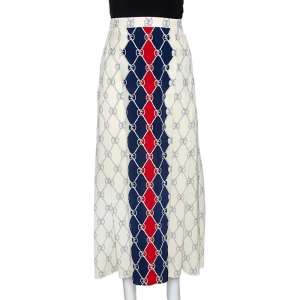 Gucci Cream & Navy Blue Silk Rhombus Skirt S