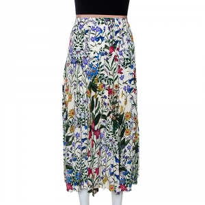 Gucci Multicolor Floral Printed Silk Pleated Midi Skirt M