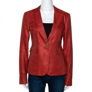 Gucci Brick Red Hemp & Silk Single Buttoned Blazer M