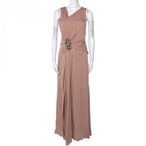 Gucci Pale Pink Silk Crepe Brooch Detail Draped Gown M - used