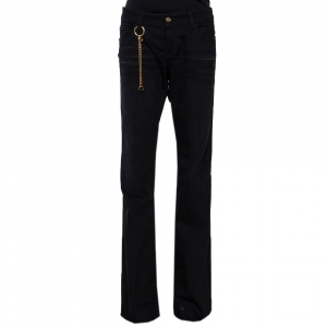 Gucci Black Denim Gold Chain Detail 70's Jeans L