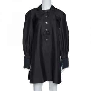 Gucci Black Raw Silk Fringe Detail Long Sleeve Tunic Dress M used