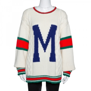 Gucci Off White Wool Knit Letter