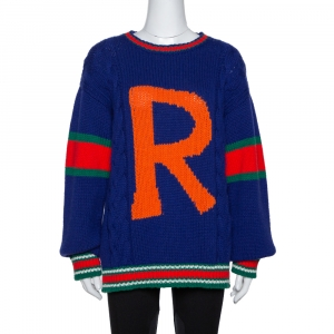 Gucci Blue Wool Cable Knit Letter