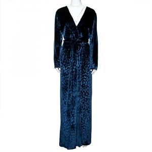 Gucci Navy Blue Leopard Pattern Velvet Plunge Neck Gown L