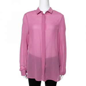 Gucci Pink Cotton & Silk Crepe Button Front Shirt M