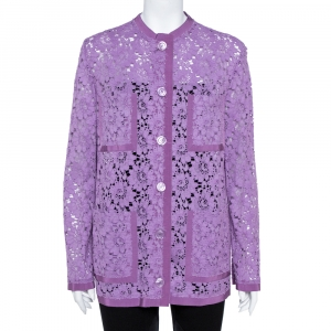 Gucci Purple Floral Lace Button Front Cardigan M