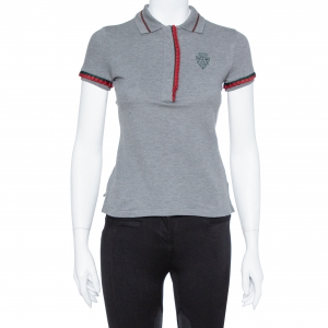 Gucci Grey Cotton Web Trim Fitted Polo T-Shirt XS