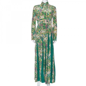 Gucci Green Floral Printed Silk Pleated Maxi Dress S