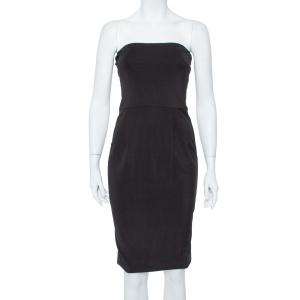 Gucci Black Jersey Strapless Sheath Dress S