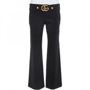 Gucci Black Knit GG Hardware Detail Stretch Mid-Rise Pants M