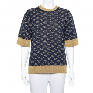 Gucci Navy Blue Logo Pattern Lurex Knit Short Sleeve Sweater S