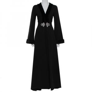 Gucci Black Knit Faux Fur Detail Flared Sleeve V-Neck Maxi Dress L - used
