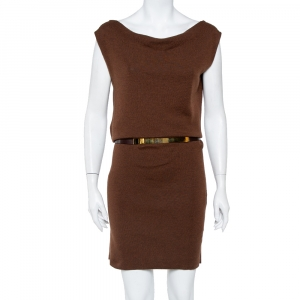 Gucci Brown Cashmere & Silk Cowl Neck Detail Belted Dress L used