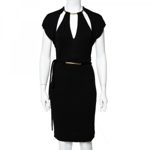 Gucci Black Knit Metal Embellished Cutout Detail Belted Dress M used