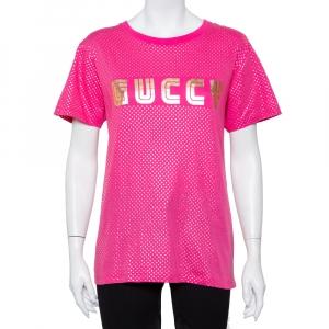 Gucci Fuchsia Star & Guccy Logo Printed Cotton Crewneck T-shirt XS
