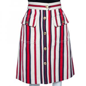 Gucci Multicolor Striped Twill Button Front A-Line Skirt L