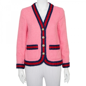 Gucci Pink Tweed Striped Detail Pearl Button Front Jacket M