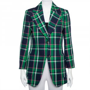 Gucci Multicolor Checkered Wool Tiger Applique Detail Button Front Blazer M