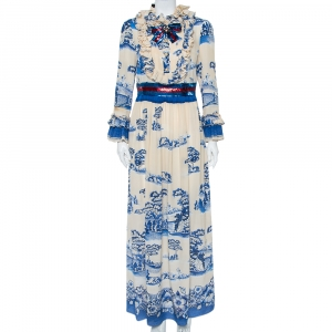 Gucci Cream & Navy Blue Porcelain Garden Printed Silk Ruffled Maxi Dress XXL