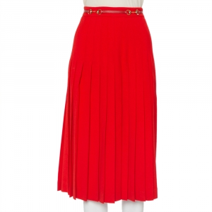 Gucci Red Wool Pleated Leather Belt Detail Midi Skirt M