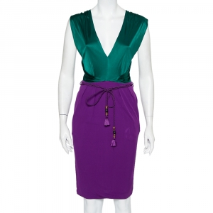 Gucci Green & Purple Knit Belted Deep Neck Midi Dress S