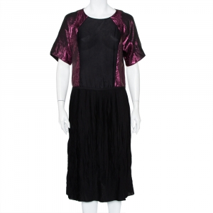 Gucci Black Silk Contrast Lame' Paneled Pleated Midi Dress S