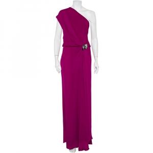 Gucci Pink Silk Embellished Detail Draped One Shoulder Dress S - used