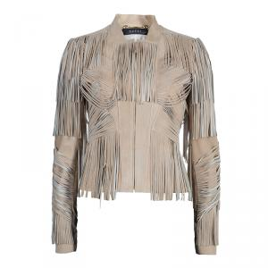 Gucci Beige Fringed Suede Jacket S