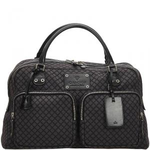 Gucci Gray/Black Diamante Canvas Travel Bag