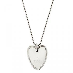 Gucci Sterling Silver Beads Heart Pendant Necklace