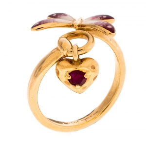 Gucci Floral Butterfly Enamel 18K Rose Gold Open Charm Ring Size 52