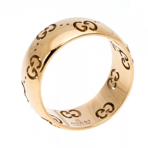 Gucci Icon Openwork 18K Rose Gold Band Ring Size 53