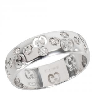 Gucci Double G 0.10 CTW Diamond 18K White Gold Ring Size 55