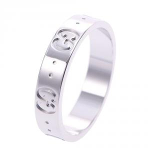Gucci Icon Ring 18K White Gold Ring Size 51