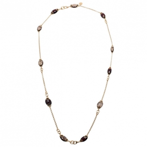 Gucci Red Garnet and Smokey Quartz Candy Horsebit Chain Necklace