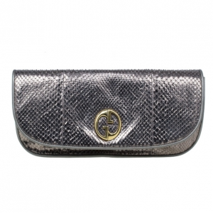 Gucci Metallic Python 1973 Gunmetal Clutch