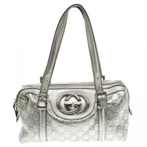 Gucci Silver Guccissima Leather Britt Boston Bag