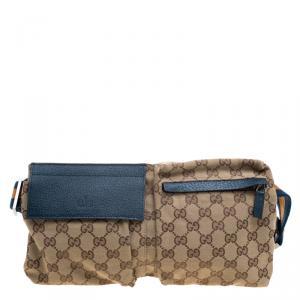 Gucci Beige/Blue GG Canvas Waist Belt Bag
