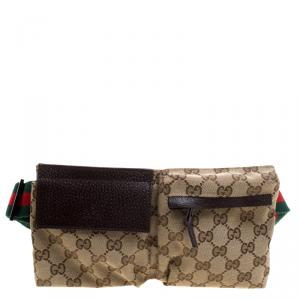 Gucci Beige/Brown GG Canvas Waist Belt Bag