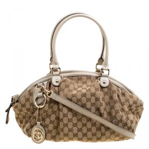 Gucci Beige GG Canvas Medium Sukey Boston Bag